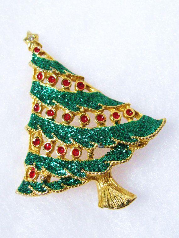 Vintage CHRISTMAS Red  Green Metallic Enamel by CovetedCastoffs