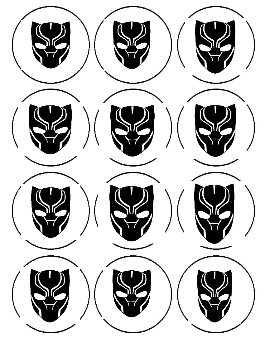 Includes 1 1 4 Sheet Image 2 Sheets Of 12 2 Inch Cupcake Toppers Price Includes Shipping Ships To U S Black Panther Panthers Cupcakes Black Panther Party