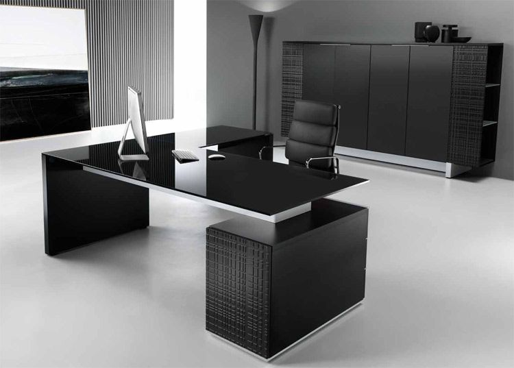 modi executive pedestal desk black glass top - Designer Glass Desk