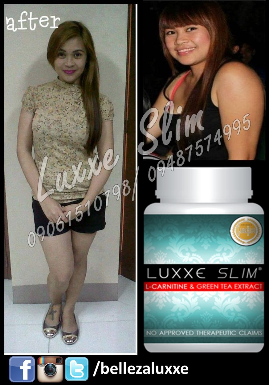 Luxxe Slim L-carnitine and Greentea Extract (Non-laxative slimming capsule) For orders contact +639487574995 or call (+63) (2) 738-5310 Visit our page: facebook.com/bellezaluxxe
