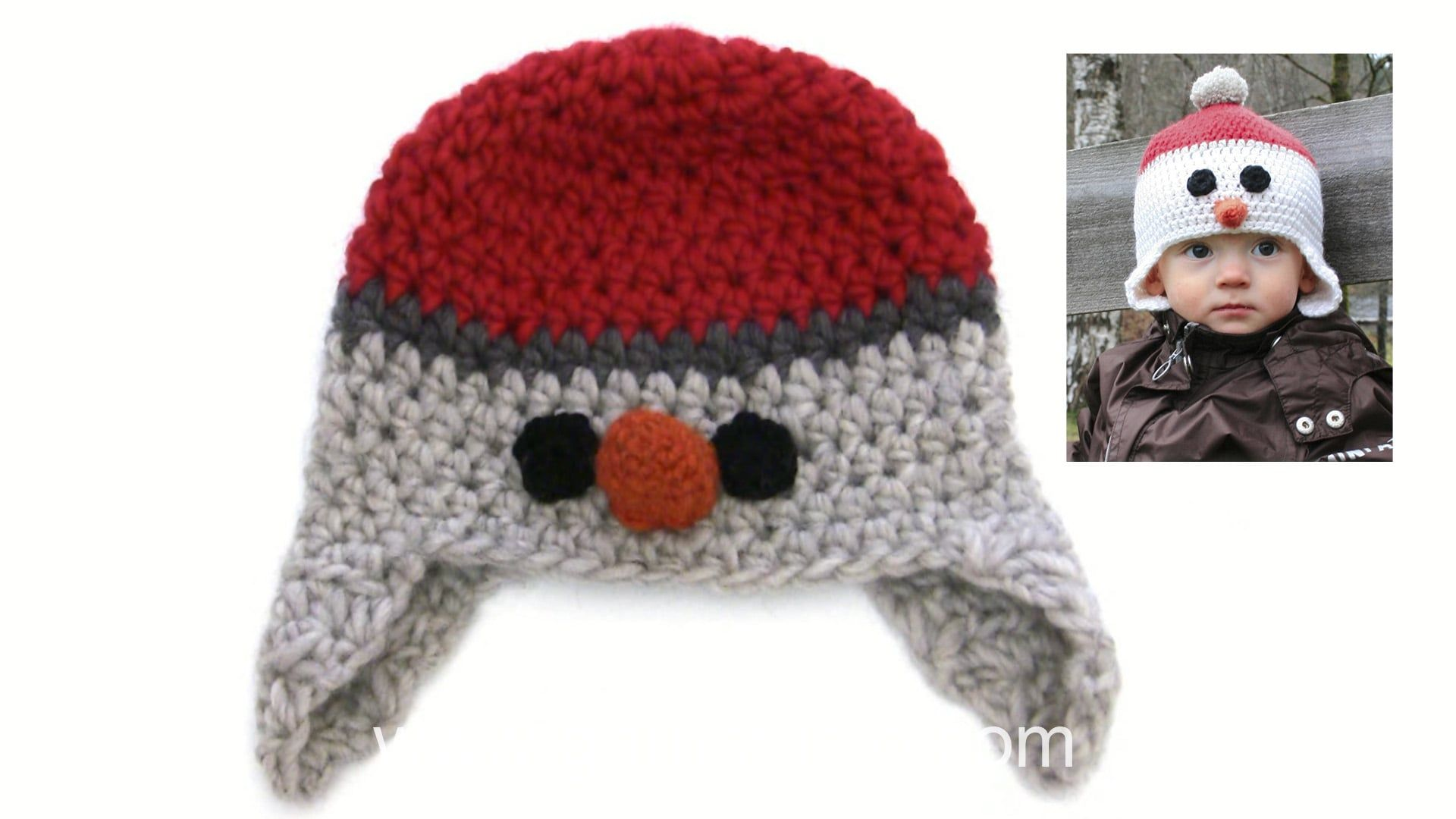 How to crochet the ear flap, eye, nose and edge on a snowman hat ...
