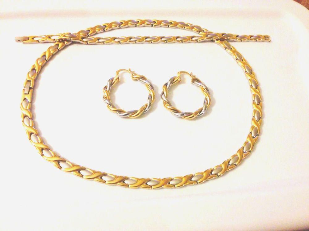 Gold Tone Hugs And Kisses Necklace Bracelet set Oval Hoop Earrings ...