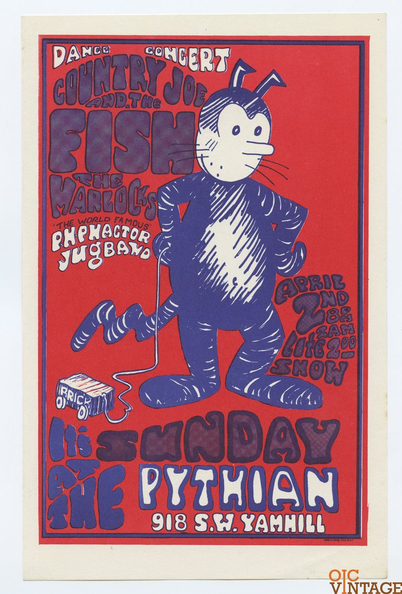Pythian Hall Handbill 1967 Apr 2 Country Joe Warlocks Paul Basertt