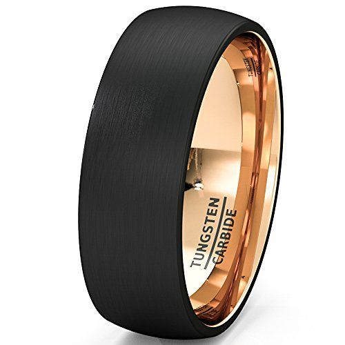 Mens Wedding Band Black Rose Gold Tungsten Ring Brushed Surface