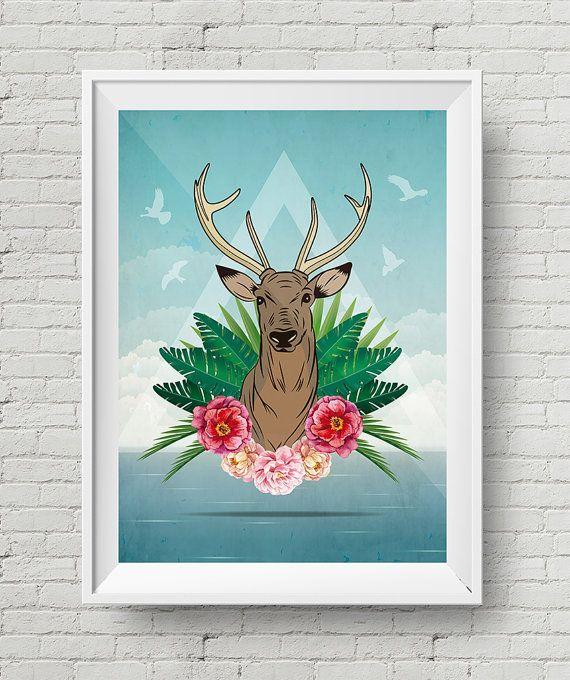 Cartel Ciervo Tropical Ilustración Cuadro por GraphicHomeDesign