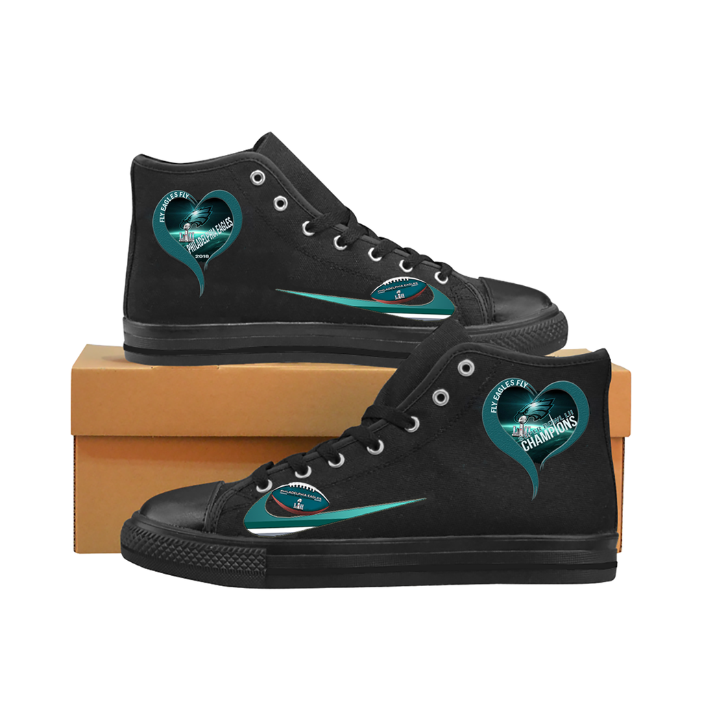 2624a7c3 I Love Philadelphia Eagles High Top Canvas Shoes Midnight Green ...