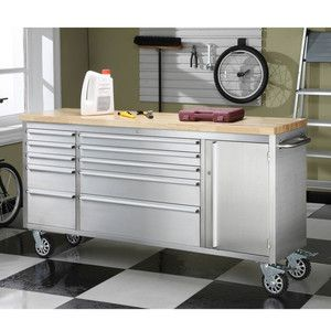 Costco Kitchen Butcher Block : Stainless tool box with butcher block top, by Whalen, $500 at Costco - use as dresser Home ...