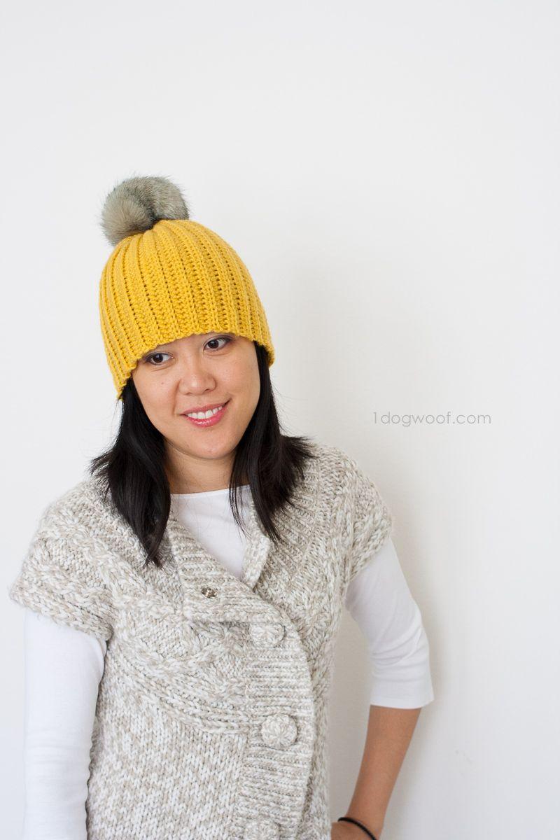 Lolly-Poms Easy Ribbed Crochet Beanie | Knitting | Pinterest