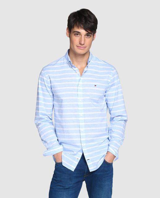 camisas hombre vestir cuello con linea de color