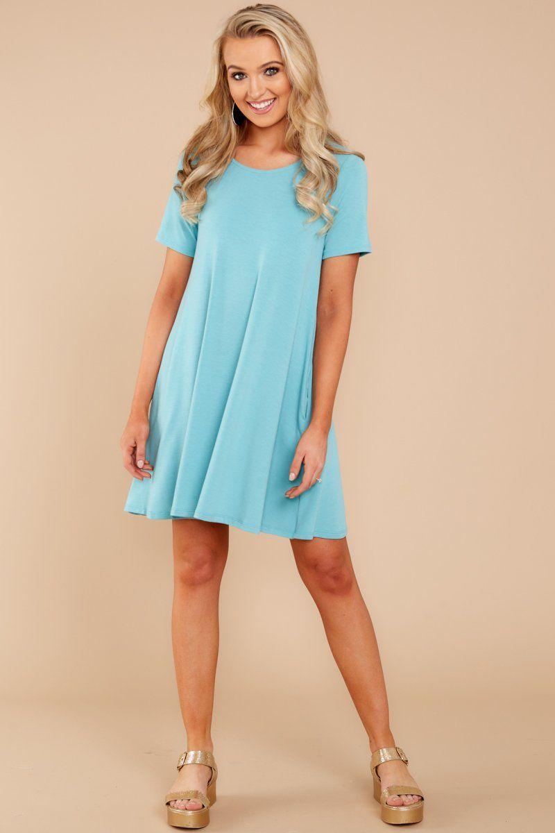 89da9d9fc8b Just For Comfort Aqua Blue T Shirt Dress | clothes | Aqua blue dress ...