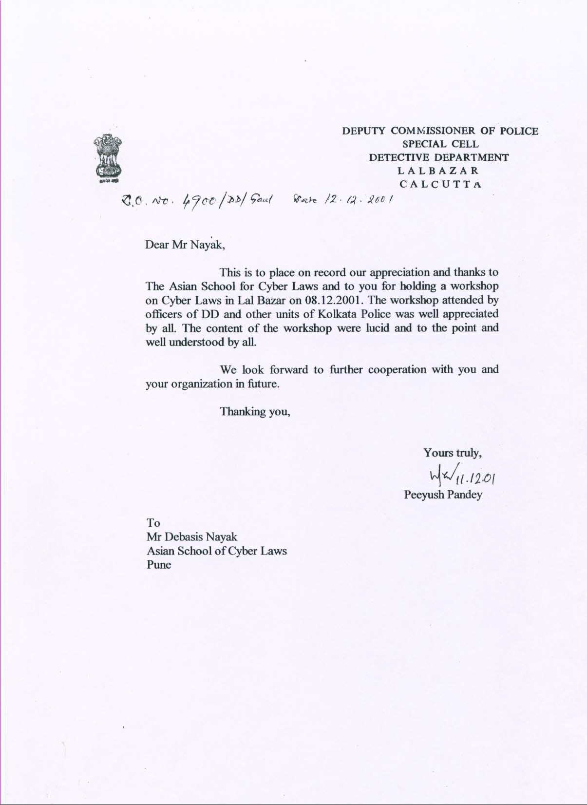 Letter Of Thanks From The Kolkata Police For A Workshop On Cyber