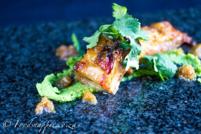 Maple And Apple Pork Belly With Pea Puree Recipe