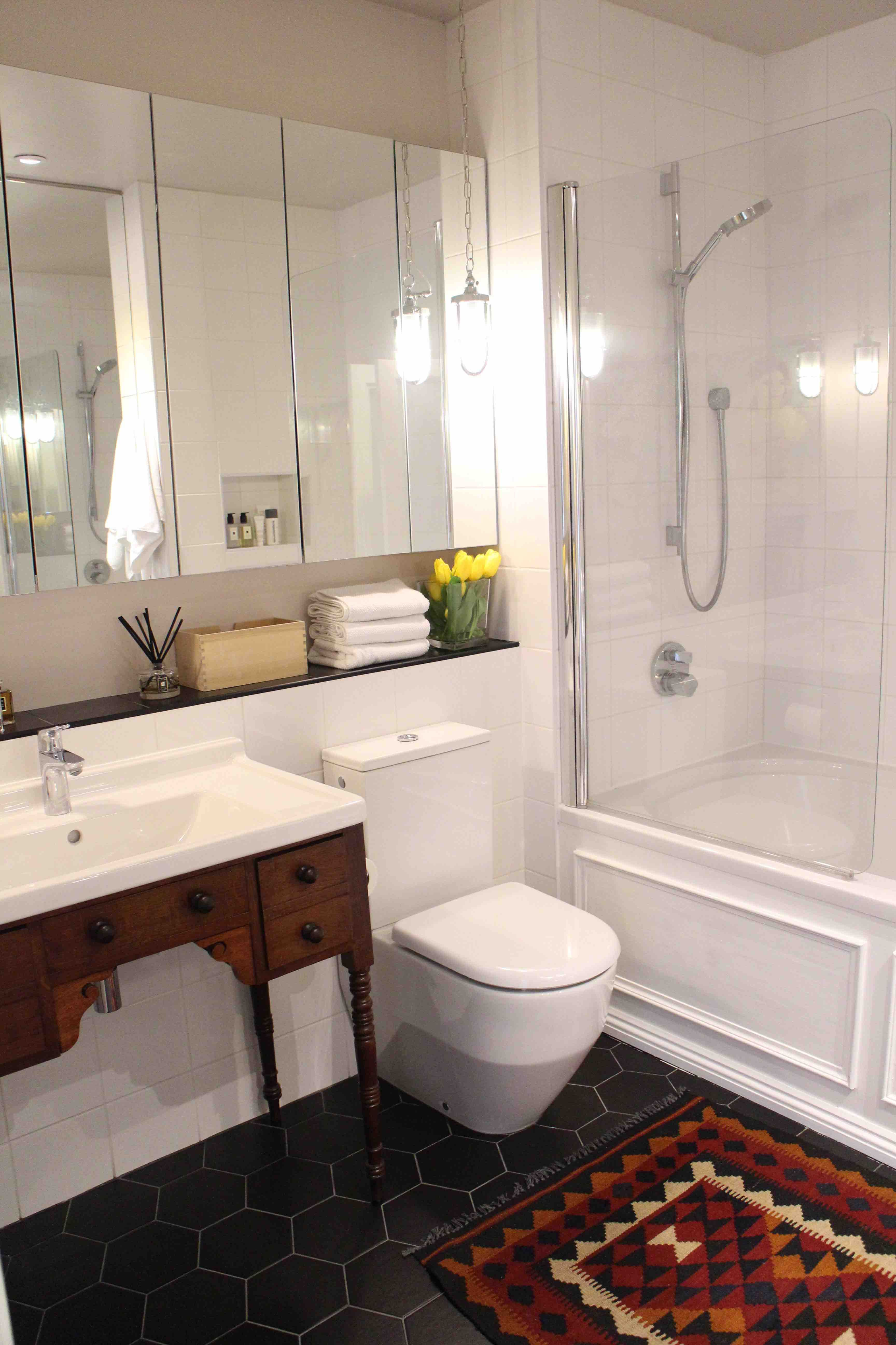Superb Traditional Meets Modern, Antique Vanity, Hexagon Black Tiles, White Square  Wall Tiles, Design Inspirations