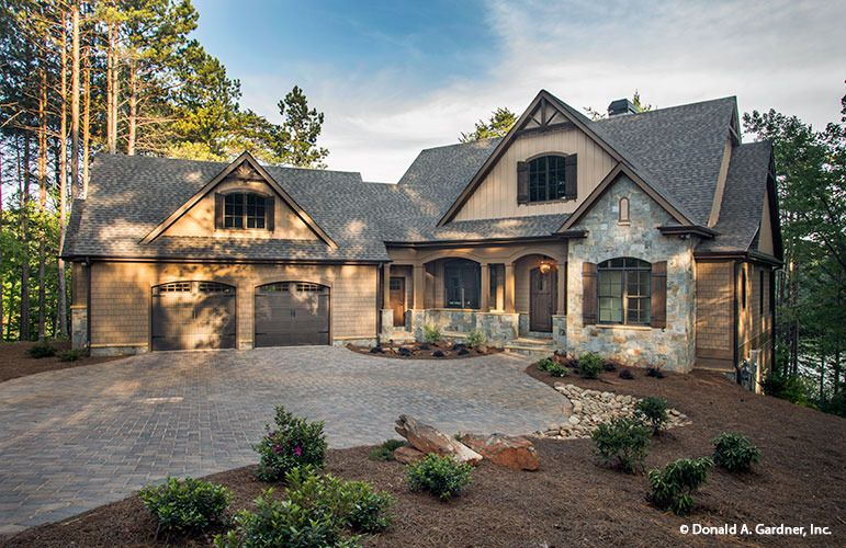 front exterior the butler ridge house plan different stone andor brick choices covering the entire house no planking
