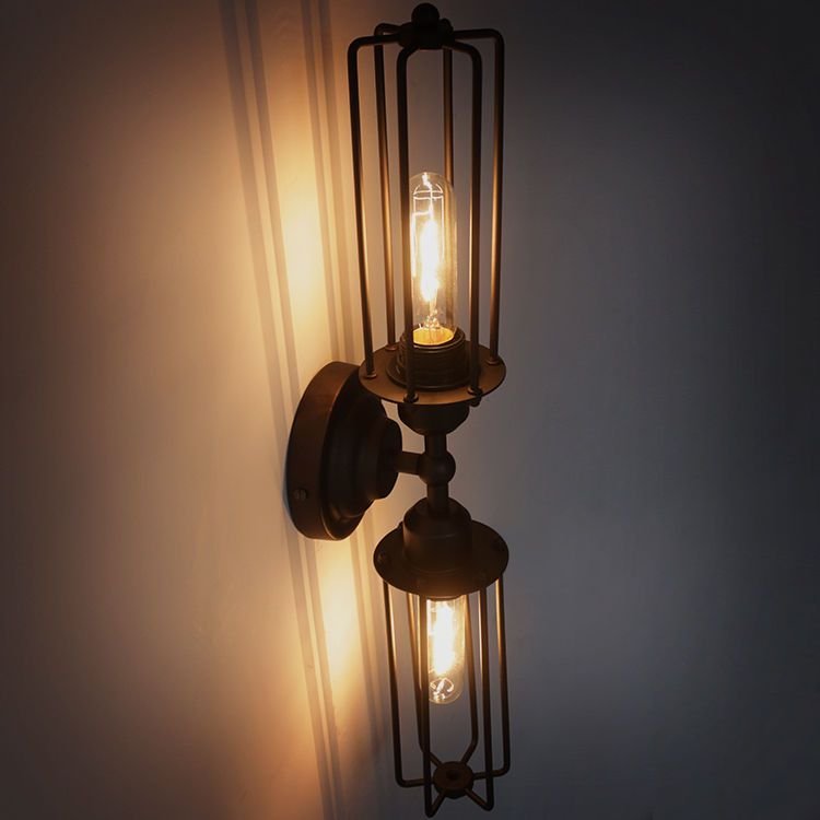 Industrial 2-Light Double Heads Mini Long Metal Cage Shade Wall ...