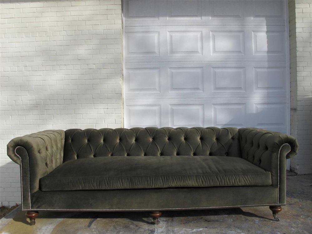 Ralph Lauren Tufted Chesterfield Sofa Luxury Green Velvet Fabric Brand New