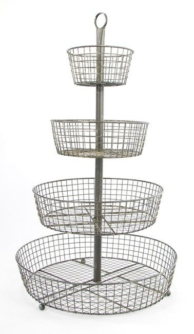 wire basket 4 tier | Tier Wire Basket French Large by whitewhispers ...