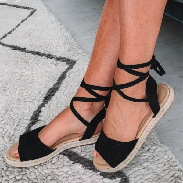 Black Suede Strappy Sandals Open Toe