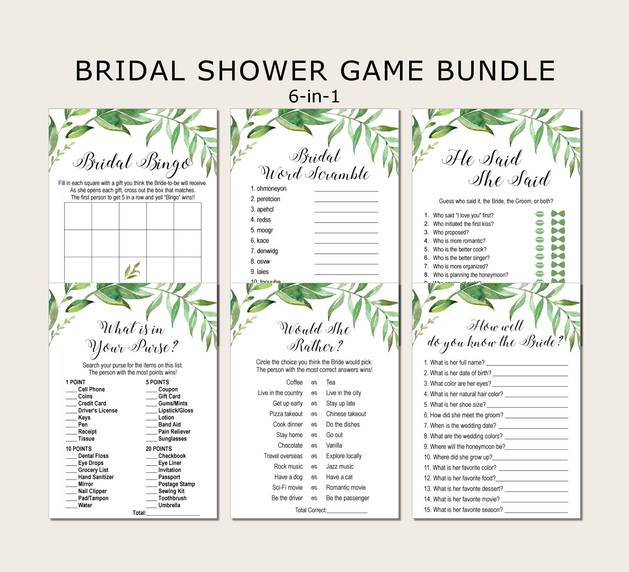 Editable Sign Bridal Shower Sign Pack INSTANT DOWNLOAD Bridal Shower Sign Package Bundle Printable Bridal Tea Sign green leaf