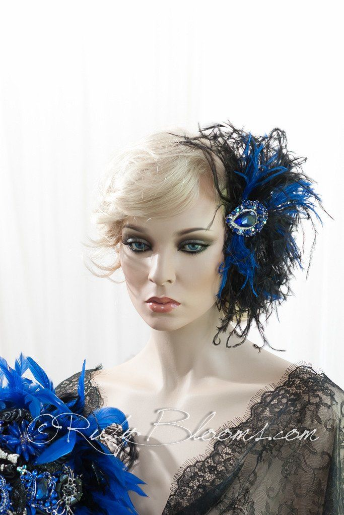 Blue and Black Feather Hair Piece by Ruby Blooms