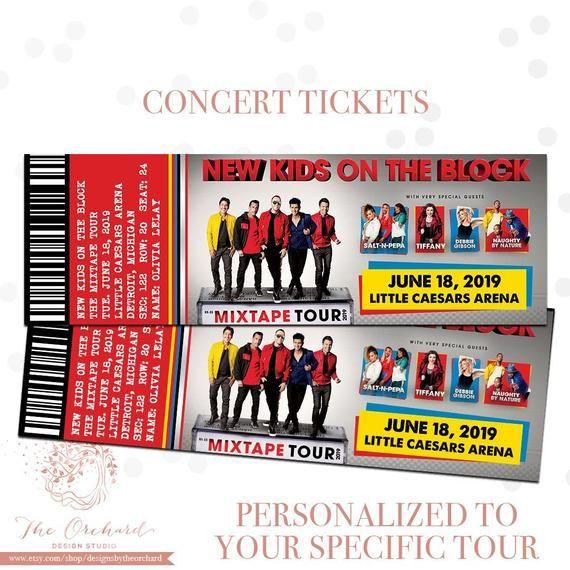 79735cc884 New Kids On The Block Mixtape Tour FAKE Concert Tickets - Keepsake - You  Self Print - Music Gift Ticket Entry Stub Concert 90s 80s NKOTB