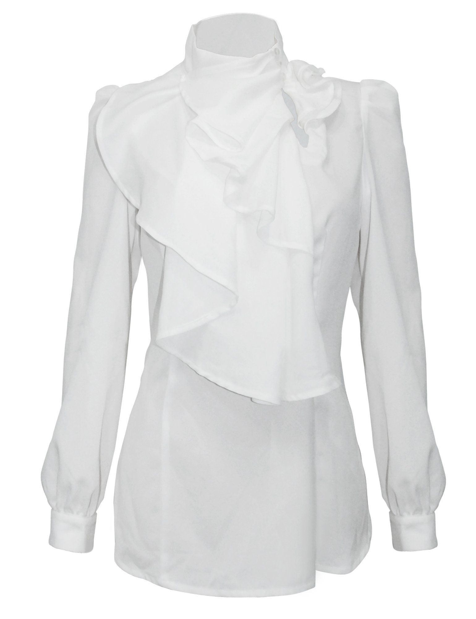 6e15f78d PrettyGuide Women Stand-Up Collar Lotus Ruffle Shirts Blouse at Amazon  Women's Clothing store: