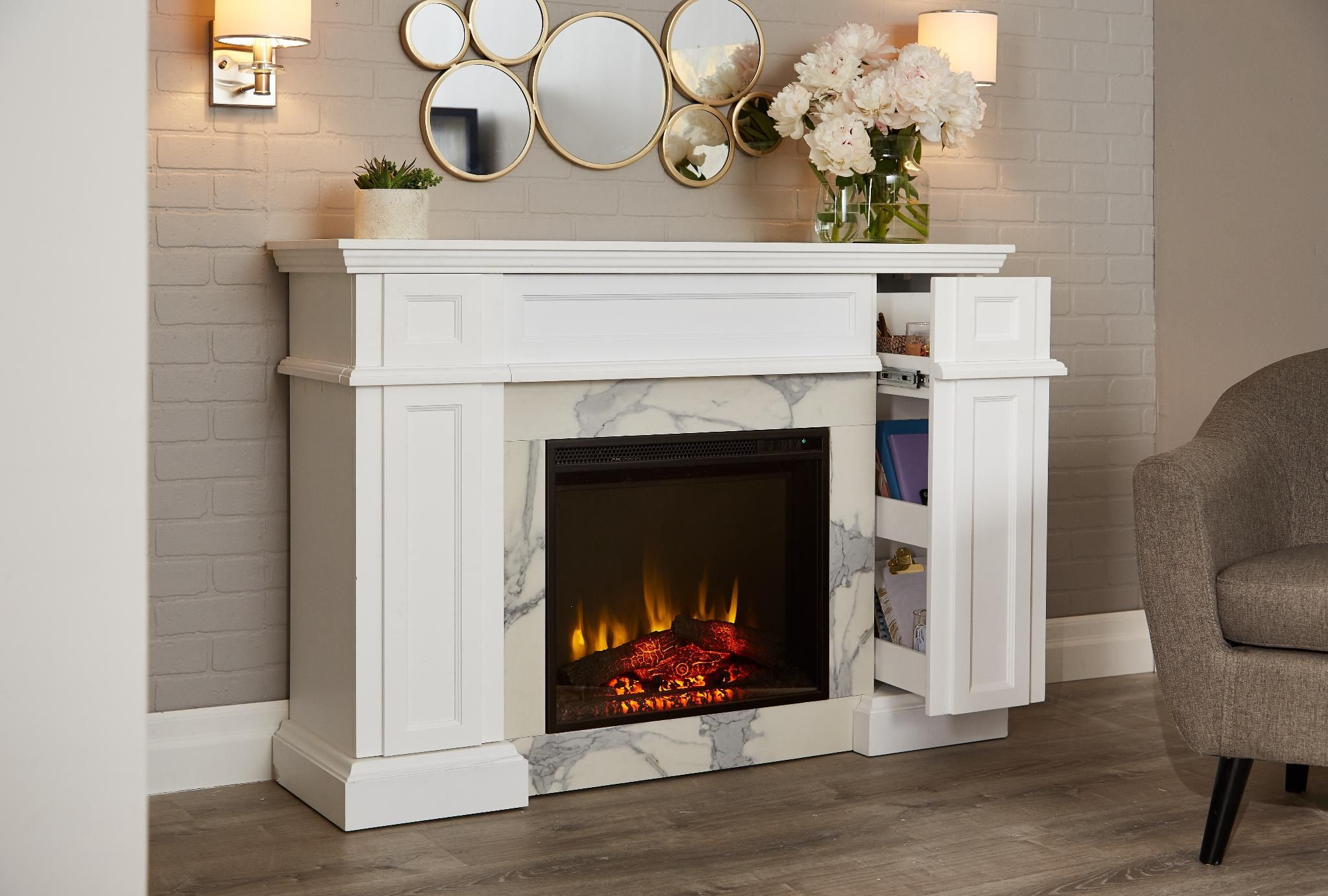 Relax And Get Cozy In A Clutter Freee With The Canvas M Ille Fireplace With Clever Hidden Storage And A Streamlined Look Its The Perfect