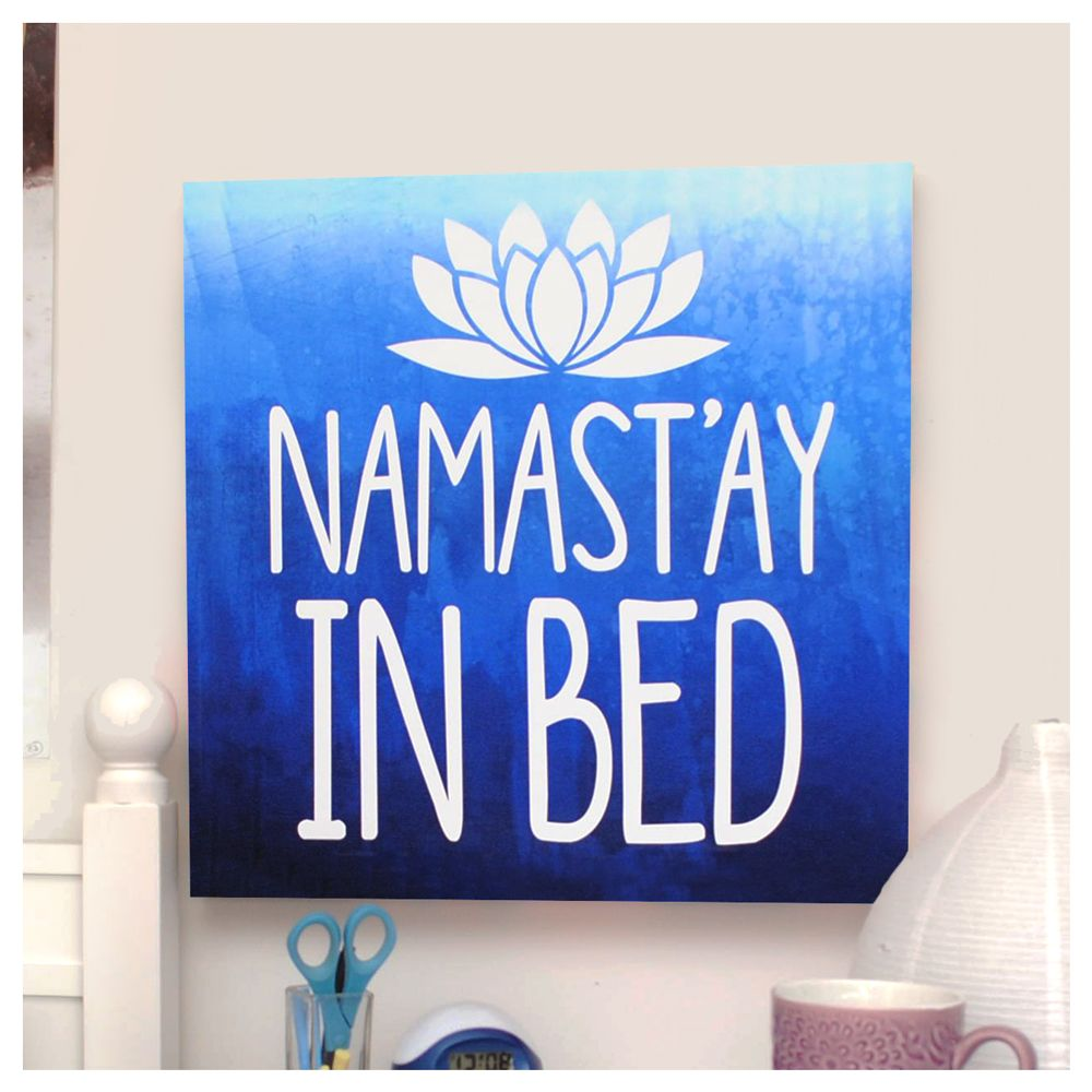 Namastay In Bed Blue Wall Canvas