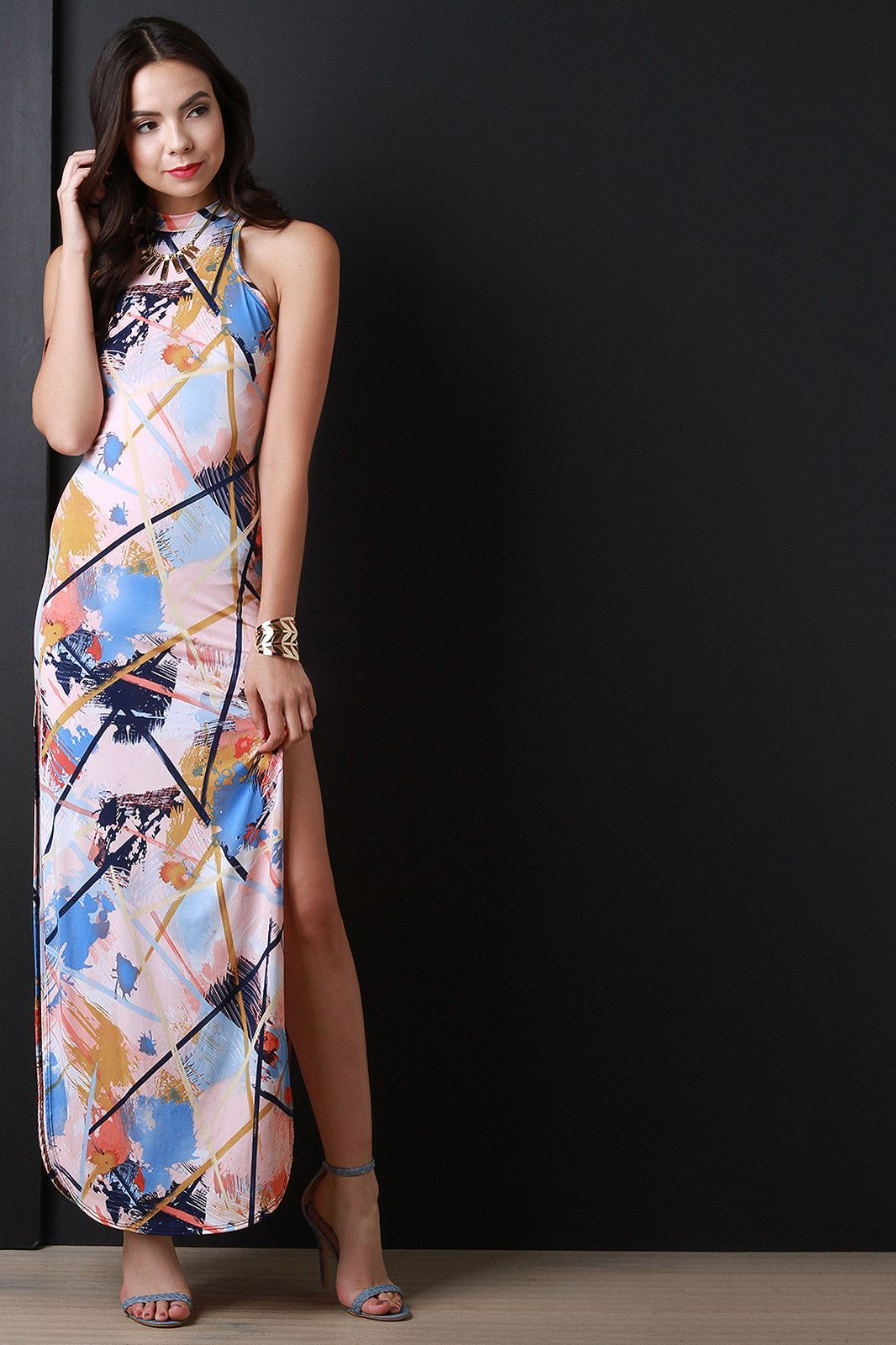 Abstract print mock neck maxi dress products pinterest