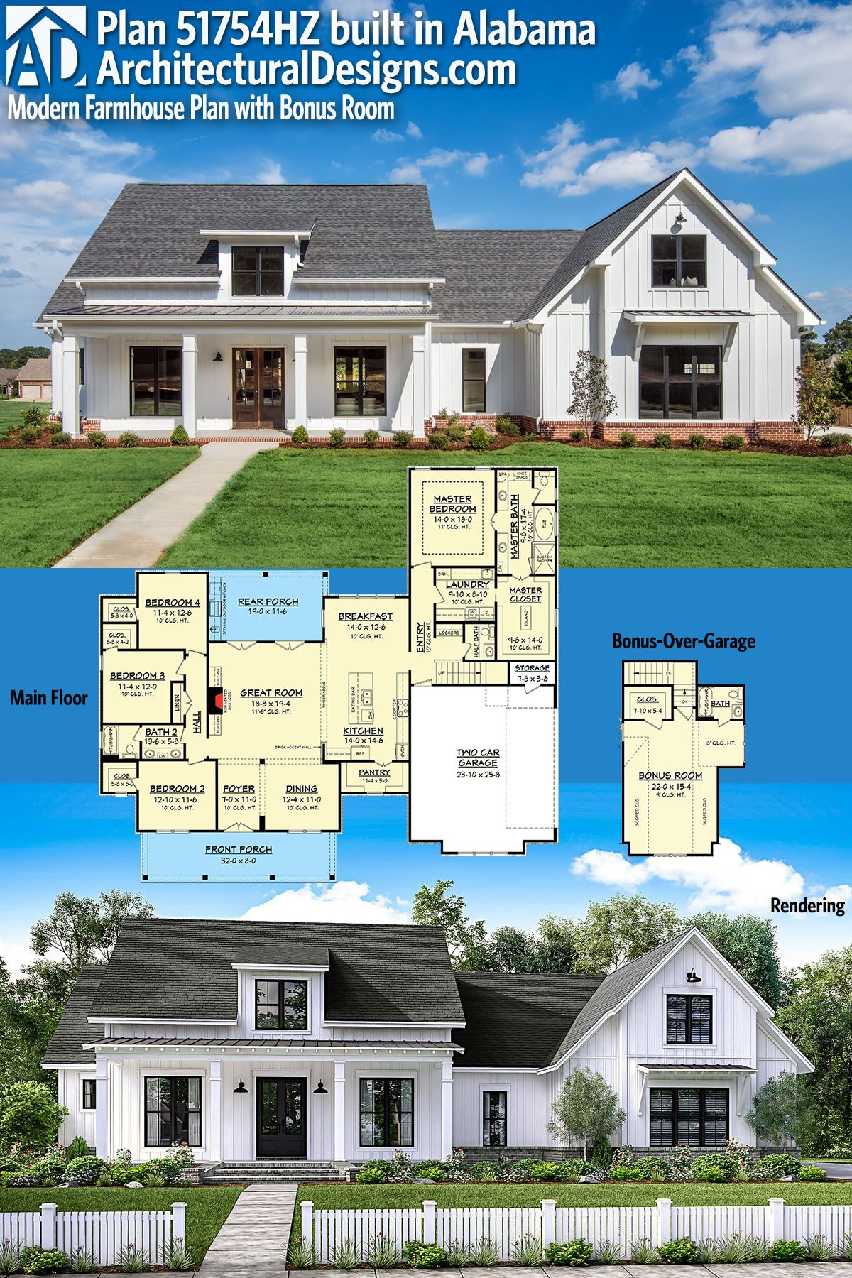Plan 51754hz modern farmhouse plan with bonus room dream