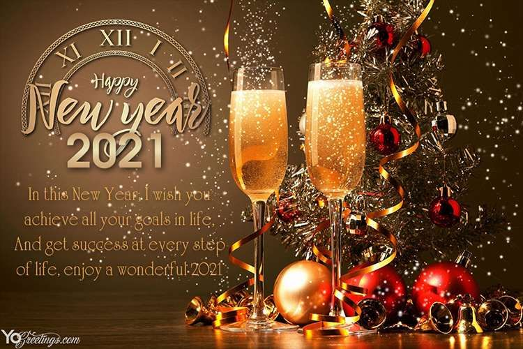 Happy New Year 2021 Greeting Wishes Card With Champagne In 2020 New Year Wishes Images New Year Wishes Happy New Year Cards