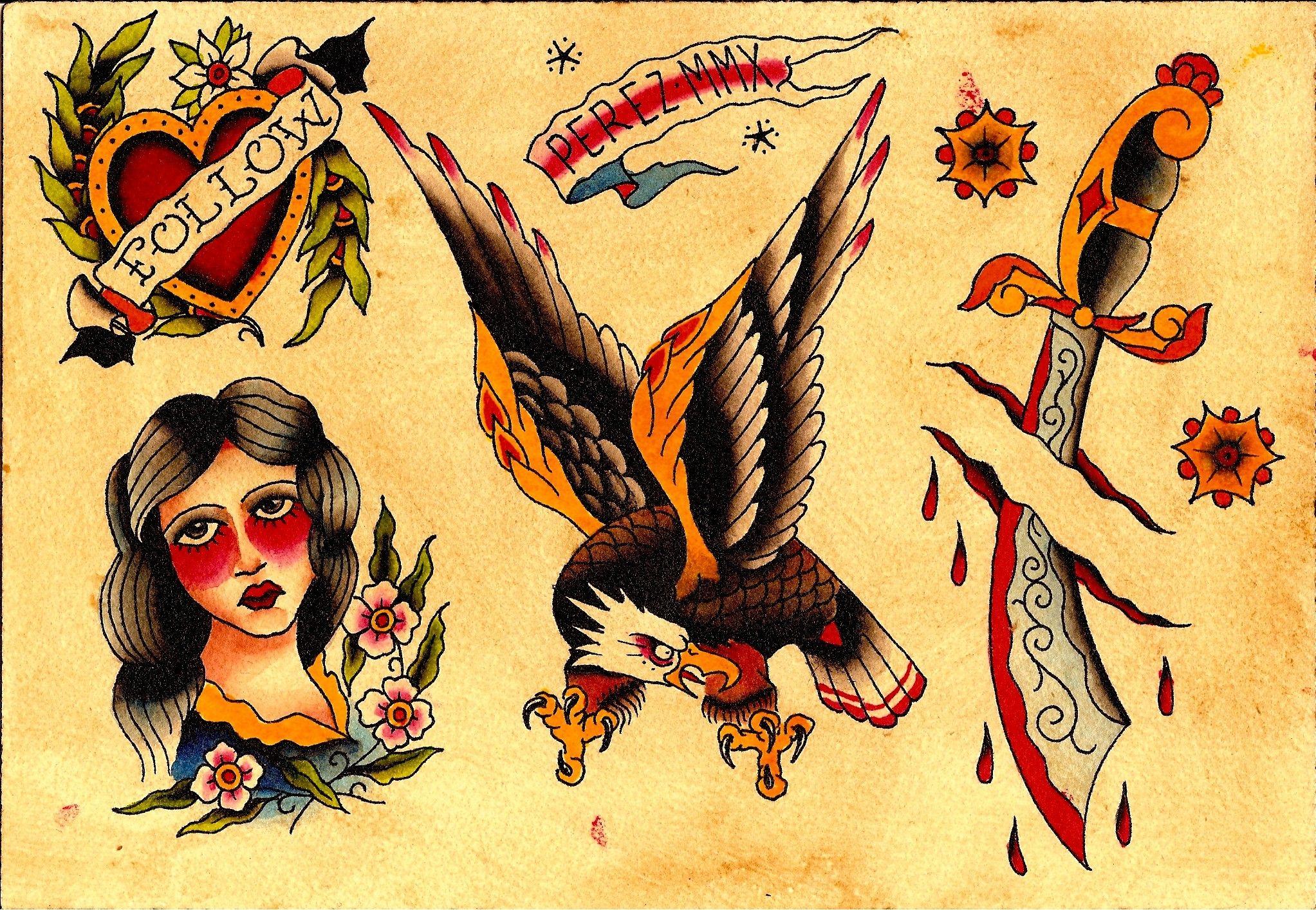 Traditional tattoo jesus tattoo flash andy perez for Traditional tattoo flash