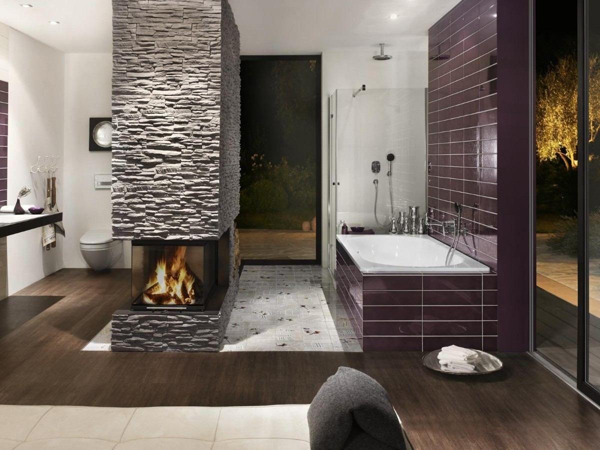 14 striking bathrooms with stone walls unique interior - Revestimiento piedra artificial ...