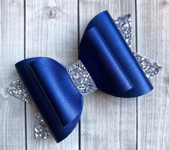 Navy and Silver Glitter Bow Hair Clip, Girls Hair Clip, Glamour Hair Bow, Navy Hair Bow, Photo Prop #hairbows