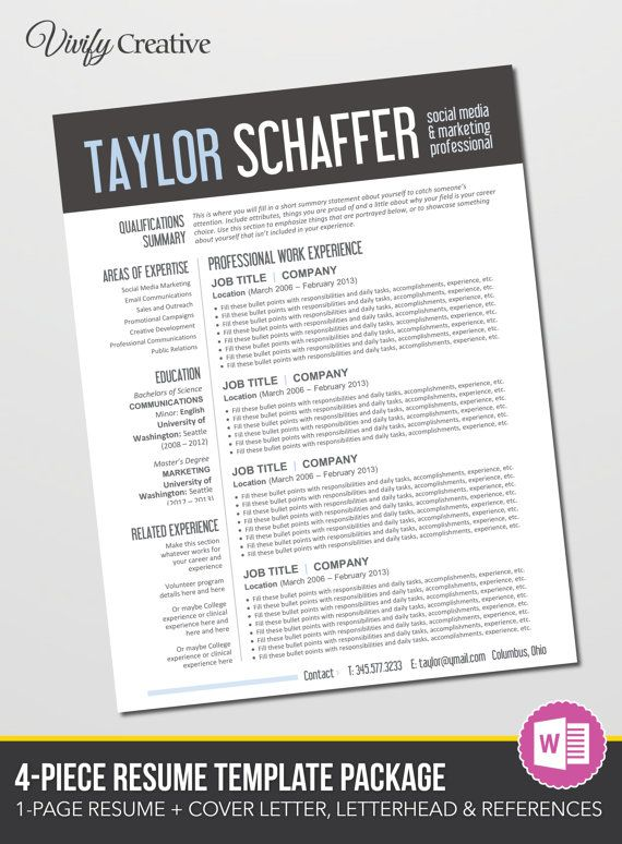Resume Template Editable Download Cover Letter by VivifyCreative - editable resume template