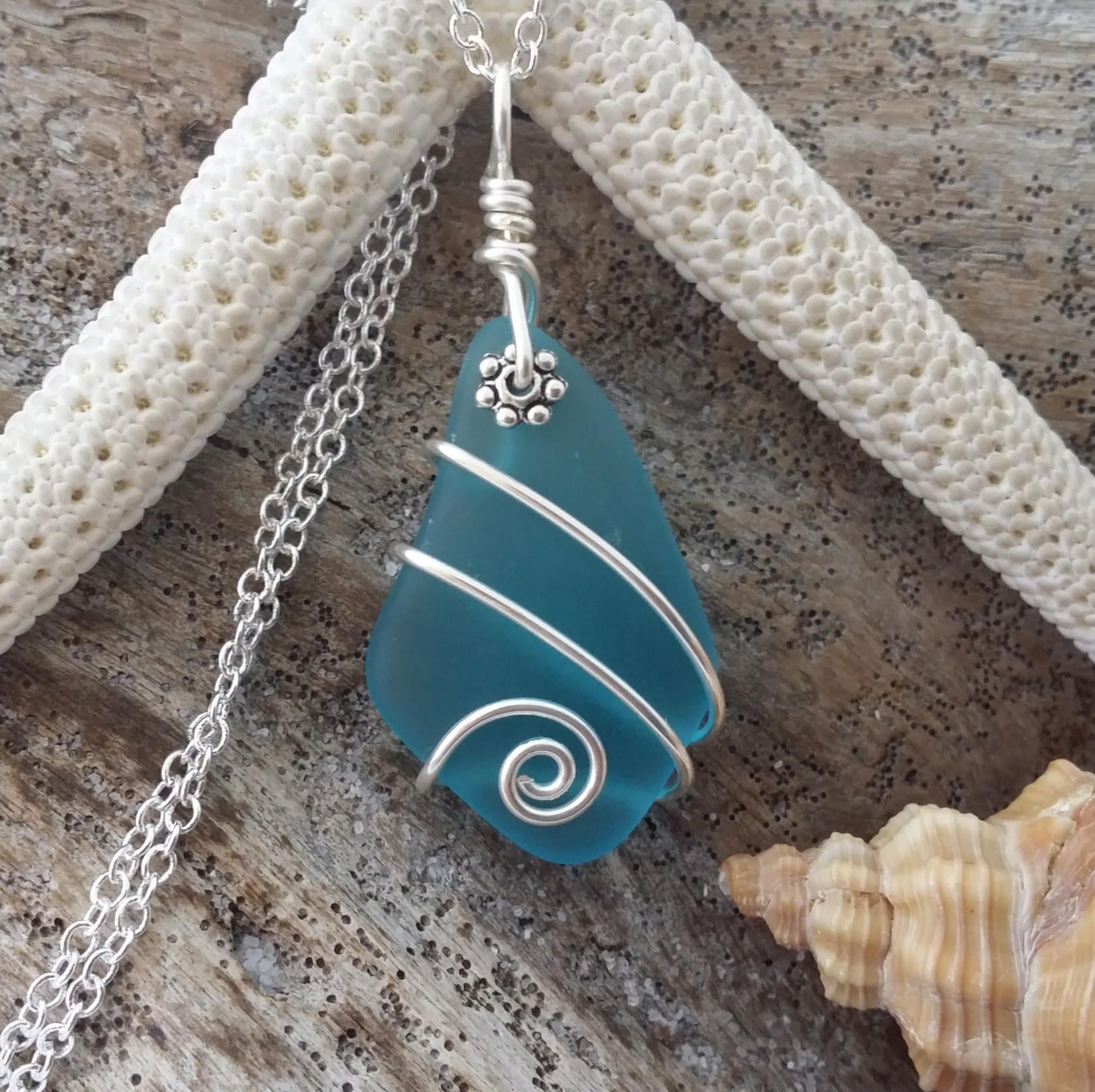 Handmade in Hawaii wire wrapped blue sea glass necklace, Sterling ...