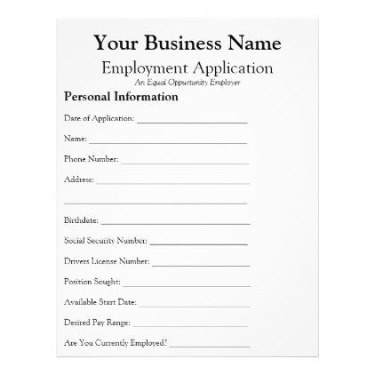 General Employee Job Application Form Business Flyer  Office
