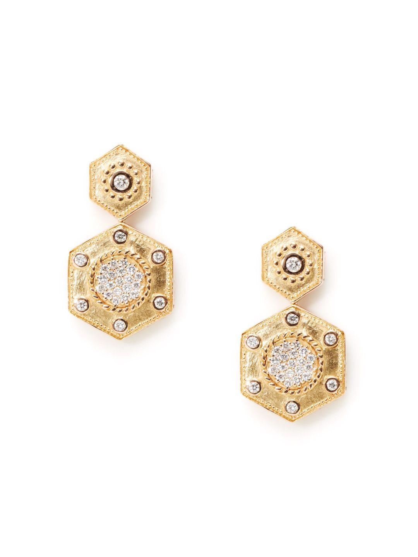 Celtique Petra Gold & Diamond Double Hexagon Drop Earrings by Charriol at Gilt