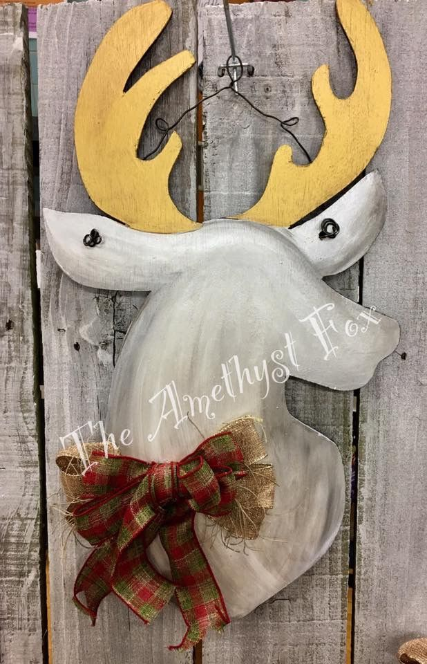 Deer Door Hanger Christmas Door Hanger Wooden Door Signs Door Wreath Hanger