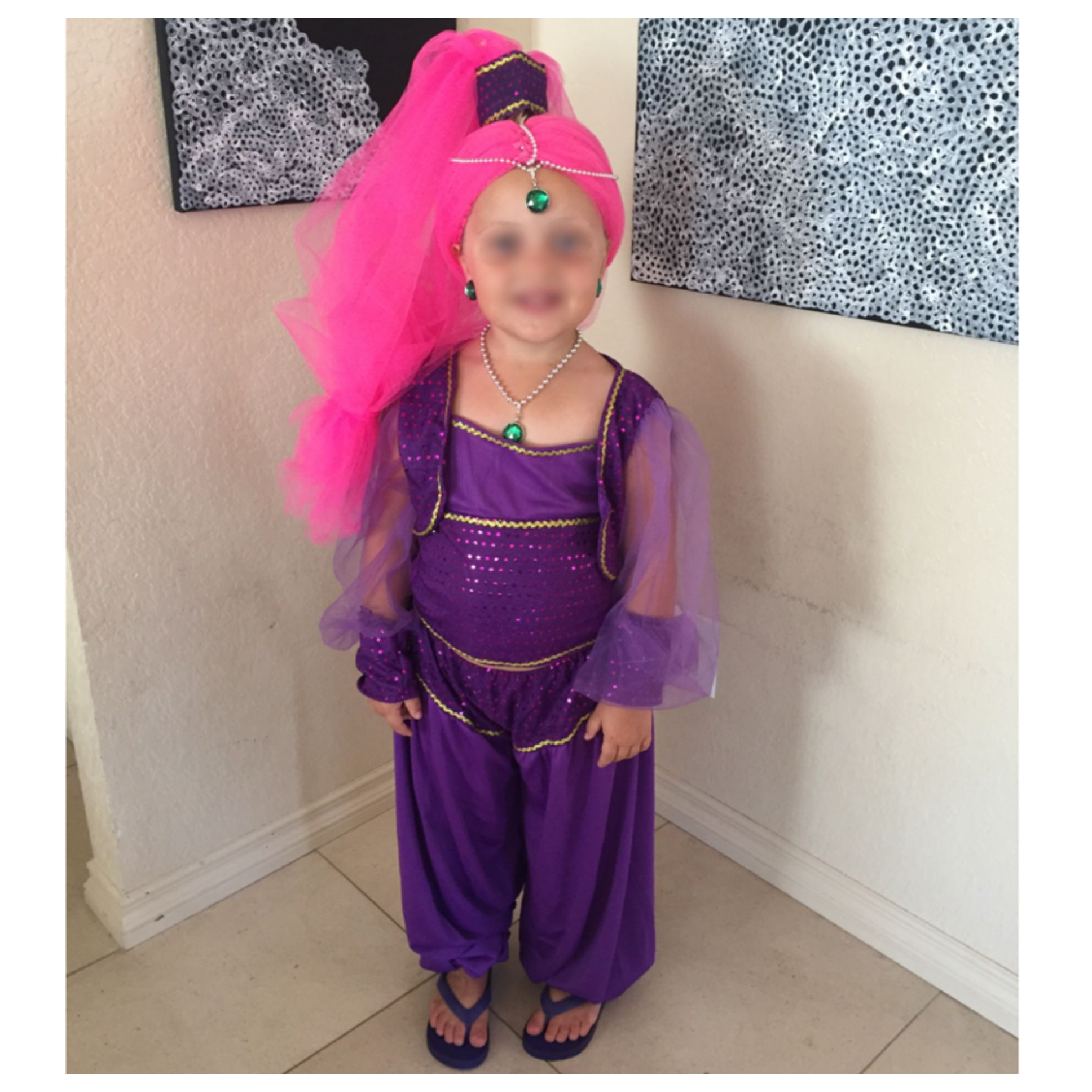 shimmer and shine costume and wig diy homemade costume tulle wig bead trim jewelry final product