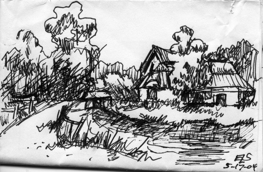 Landscape Quick Pen And Ink Sketch By ~ELStubbs On