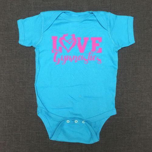 dddb625d6 Love Gymnastics Onesie for the Future Gymnast in your family! Shop our  variety of awesome ready to ship Gymnastics Shirts at ShirtTraveler.com.