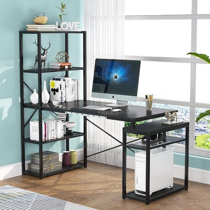 Computer Desk With 5 Tier Storage Shelves Workstation Drafting Drawing Table With Tiltable Tabletop For Home Office In 2021 Computer Desk Desk Storage Shelves Home office desk with storage