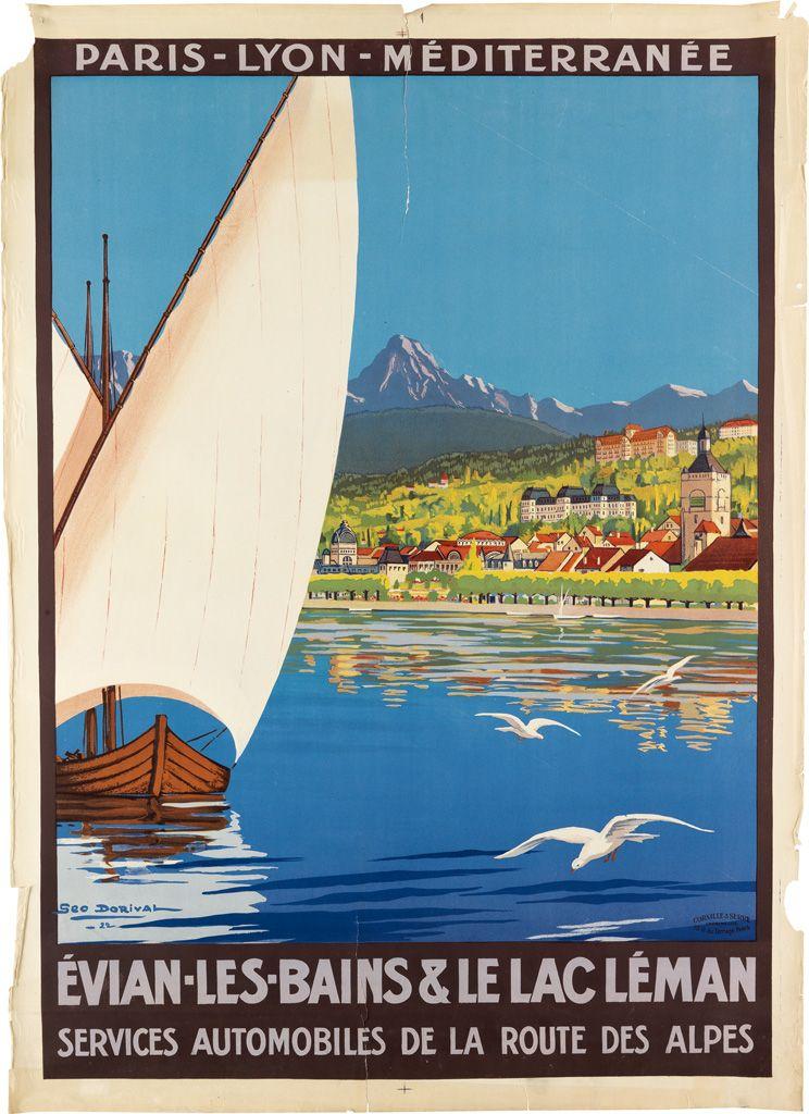 Vintage French Travel Poster Évian-les-Bains Lac Léman Water Sports Alps Print