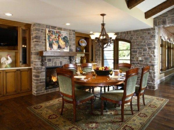 klassisches esszimmer steinwände einrichtungsideen - wandgestaltung mit farbe küche