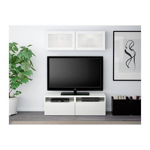 BESTÅ Combinazione TV/ante a vetro, marrone-nero Lappviken, grigio ...