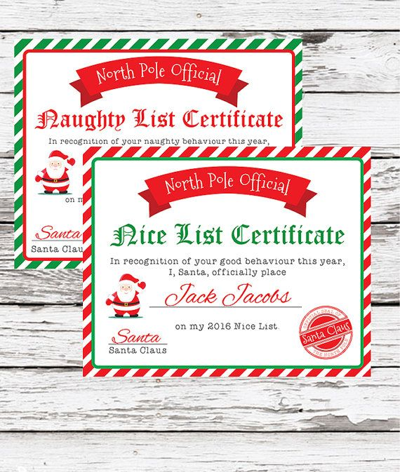 Santa Nice List Certificate - Christmas Printables - Kids - Christmas Certificates Templates For Word