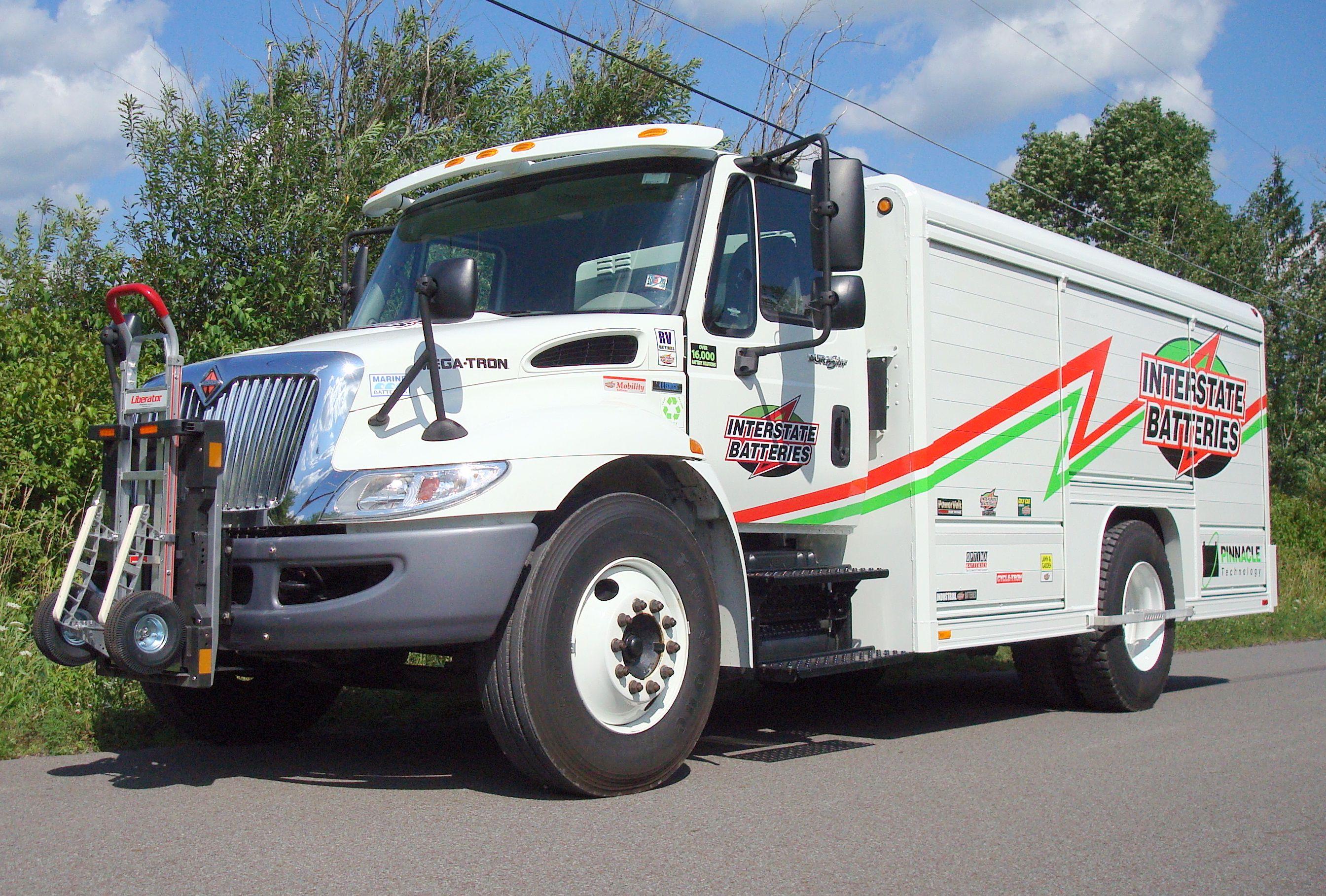 Interstate Batteries Navistar 4200 Durastar Series Route Delivery Truck With Mickey Truck Body And Hts 10t Tilt Mount Hand T Trucks Hand Trucks Truck Transport