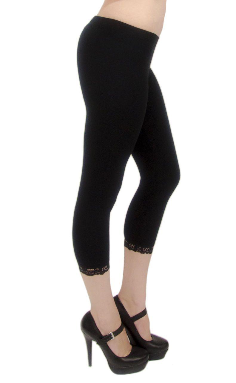 771824283abe52 Vivian'S Fashions Capri Leggings - Cotton, Lace Trim (Junior/Junior Plus  Sizes)