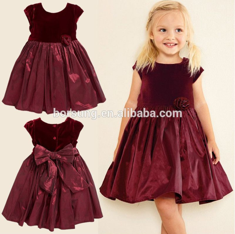 e83c2524f Autumn Winter Children Frocks Designs Baby Clothes Sweet Deep Velvet ...